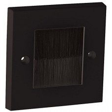 Black Brush Stripe Cable Entry single 1 Gang Wall Face Plate Outlet