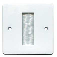 White Brush Stripe Cable Entry single 1 Gang Wall Face Plate Outlet