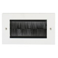 White Brush Stripe Cable Entry single 2 Gang Wall Face Plate Outlet