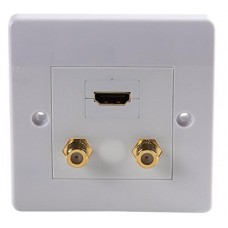 1 x HDMI + 2 x Satellite Wall Face Plate - 1 Gang - White