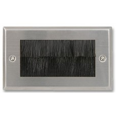Brush Stripe Cable Entry single 2 Gang Wall Face Plate Outlet - Brushed Stainless Steel
