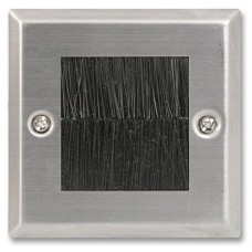 Brush Stripe Cable Entry single 1 Gang Wall Face Plate Outlet - Brushed Stainless Steel