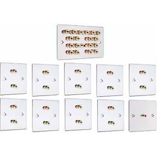 Chrome 91 Surround Sound Audio Speaker Wall Plate Kit NO SOLDERING REQUIRED