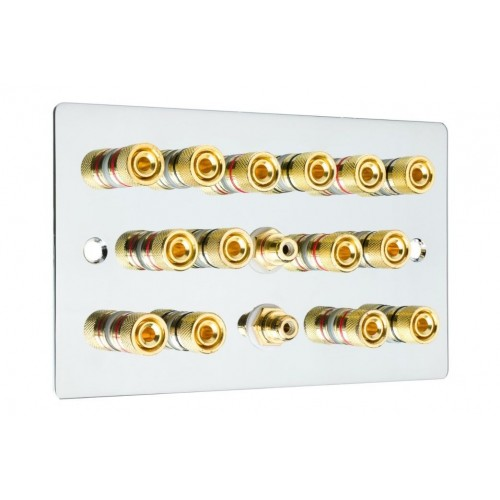 Complete Chrome 7 1 Surround Sound Audio Speaker Wall Plate