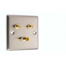 Stainless Steel 2 x Satelite 1 x TV Wall Plate - (Front/Rear) Type F Connections