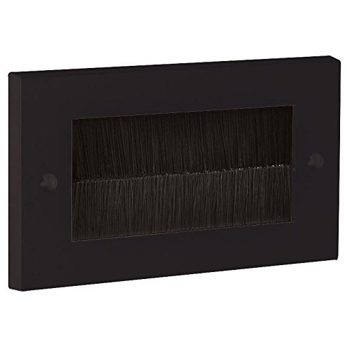 Black Brush Stripe Cable Entry Single 2 Gang Wall Face