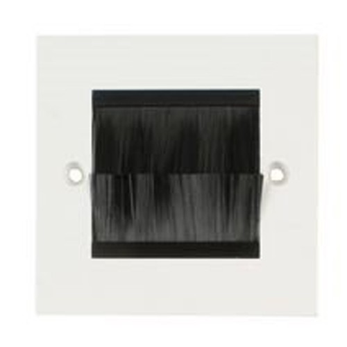 White Brush Stripe Cable Entry Single 1 Gang Wall Face