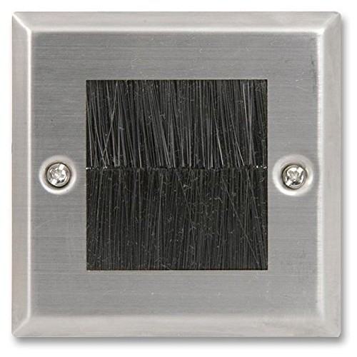 Brush Stripe Cable Entry Single 1 Gang Wall Face Plate
