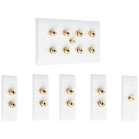 Complete Dolby 4.1 Surround Sound Speaker Wall Plate Kit - Slimline - No Soldering Required
