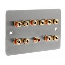 Stainless Steel Brushed Flat Plate 5.1 2 Gang Speaker Wall Plate 10 Terminals + RCA Phono Socket - No Soldering Required