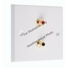 Stainless Steel Brushed Raised Plate 2 x RCA's Phono Audio Surround Sound Wall Face Plate - Rear Solder tab Connections
