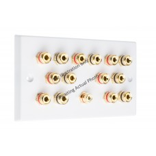Polished Brass Flat plate 7.1 Speaker Wall Plate 14 Terminals + 1 RCA Phono Socket - Two Gang - No Soldering Required