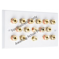 Polished Brass Flat plate 7.2 Speaker Wall Plate 14 Terminals + 2 RCA Phono Sockets - Two Gang - No Soldering Required
