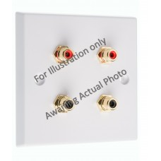 Polished Black Nickel / Gun Metal Flat Plate - 4 x RCA's Phono Audio Wall Plate - 4 Terminals - No Soldering Required