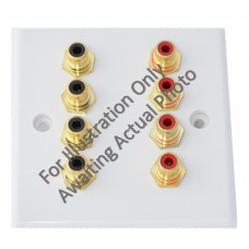 Chrome Plated Flat Plate - 8 x RCA Phono Audio Wall Plate - 8 Terminals - No Soldering Required
