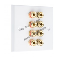 Stainless Steel Brushed Flat plate 4.0 1 gang - 8 Binding Post Speaker Wall Plate - 8 Terminals - No Soldering Required