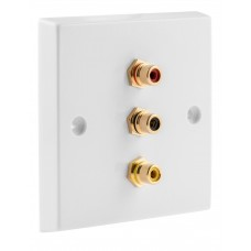 White 3 x RCA Phono Audio Surround Sound Wall Face Plate - Rear Solder tab Connections