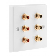 White 6 x RCA Phono Audio Surround Sound Wall Face Plate - Rear Solder tab Connections