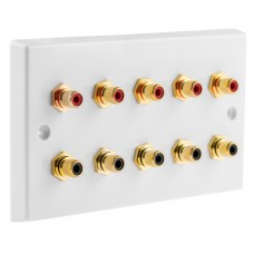 White 10 x RCA Phono Audio Surround Sound Wall Face Plate - Rear Solder tab Connections