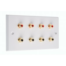 White 8 x RCA Phono Audio Surround Sound Wall Face Plate - Rear Solder tab Connections