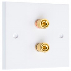 White 2 Binding Post Speaker Distribution Wall Plate - 2 Terminals - Rear Solder tab Connections