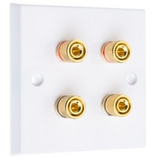 White 4  Binding Post Speaker Wall Plate - 4 Terminals - Rear Solder tab Connections