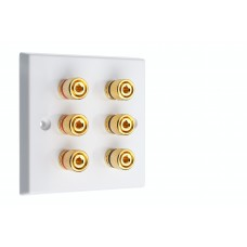 White 6 Binding Post Speaker Wall Plate - 6 Terminals - Rear Solder tab Connections
