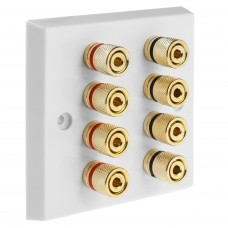 White 4.0 - 8 Binding Post Speaker Wall Plate - 8 Terminals - Rear Solder tab Connections