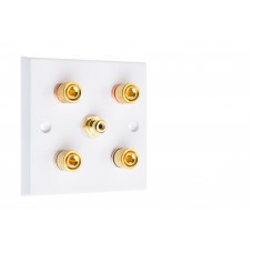 White 2.1  Speaker Wall Plate - 4 Terminals + RCA - Rear Solder tab Connections