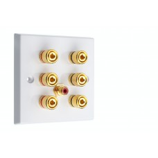 White 3.1  Speaker Wall Plate - 6 Terminals + RCA - Rear Solder tab Connections