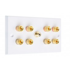 White 4.1  Speaker Wall Plate - 8 Terminals + RCA - Rear Solder tab Connections