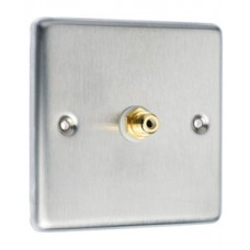 Stainless Steel Brushed Raised Plate 1 x RCA Phono Audio Surround Sound Wall Face Plate - Rear Solder tab Connections