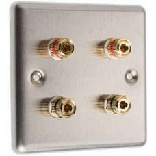 Stainless Steel Brushed Raised plate - 4 Binding Post Speaker Wall Plate - 4 Terminals - No Soldering Required