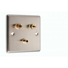 Stainless Steel Brushed Raised plate 1.1 Speaker Wall Plate 2 Terminals + 1 RCA Phono Socket - 1 Gang - No Soldering Required