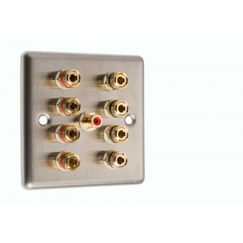 Raised Stainless Steel NON SOLDER 4 Post Speaker Audio Wall Face Plate