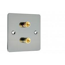 Black Nickel Flat plate 2 Binding Post Speaker Wall Plate - 2 Terminals - Rear Solder tab Connections