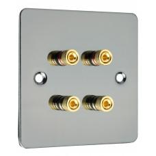 Black Nickel Flat plate 4 Binding Post Speaker Wall Plate - 4 Terminals - Rear Solder tab Connections