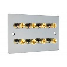 Black Nickel Flat plate 4.0 - 8 Binding Post Speaker Wall Plate - 8 Terminals - Rear Solder tab Connections