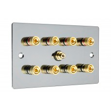 Black Nickel Flat Plate 4.1  Speaker Wall Plate - 8 Terminals + RCA - Rear Solder tab Connections