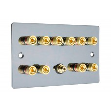 Black Nickel Flat Plate 5.1  Speaker Wall Plate - 10 Terminals + RCA - Rear Solder tab Connections