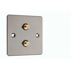 Polished Black Nickel / Gun Metal Flat Plate - 2 x RCA's Phono Audio Wall Plate - 2 Terminals - No Soldering Required