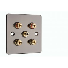 Polished Black Nickel / Gun Metal Flat plate 2.1 Speaker Wall Plate 4 Terminals + 1 RCA Phono Socket - 1 Gang - No Soldering Required