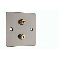 Polished Black Nickel / Gun Metal Flat plate - 2 Binding Post Speaker Wall Plate - 2 Terminals - No Soldering Required