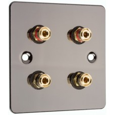 Polished Black Nickel / Gun Metal Flat plate - 4 Binding Post Speaker Wall Plate - 4 Terminals - No Soldering Required