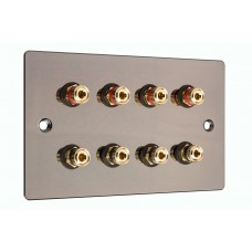 Polished Black Nickel / Gun Metal plate - 4.0 - 8 Binding Post Speaker Wall Plate - 8 Terminals - No Soldering Required