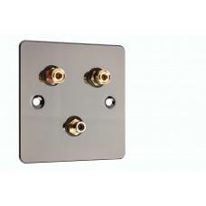 Polished Black Nickel / Gun Metal Flat plate 1.1 Speaker Wall Plate 2 Terminals + 1 RCA Phono Socket - 1 Gang - No Soldering Required