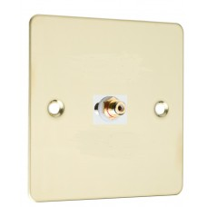 Polished Brass Flat Plate 1 x RCA Phono Audio Surround Sound Wall Face Plate - Rear Solder tab Connections