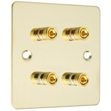 Polished Brass Flat plate 4 Binding Post Speaker Wall Plate - 4 Terminals - Rear Solder tab Connections