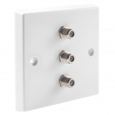 White Satellite F-type Wall Plate 3 x Nickel plated posts - No Soldering Required