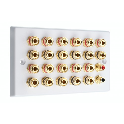 White 11 2 Speaker Wall Plate 22 Terminals 2 Rca Phono